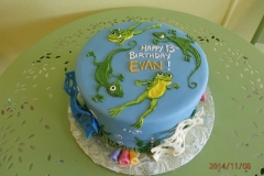 1705, 13th birthday, thirteenth birthday, frog, lizard, reptile, blue, green, water, bubbles, pond