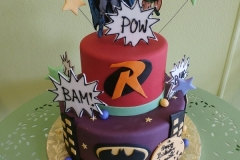 1708, birthday, batman, robin, dc, superhero, superheros, star, stars, red, purple, black, tiered