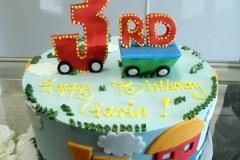 1716, third birthday, 3rd birthday, train, clouds, sky, grass, blue, red, yellow