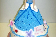 1720, birthday, barbie cake, cinderella, dress, carved, princess, blue, flower, flowers, white, tiered