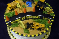 1744, third birthday, 3rd birthday, construction, tonka, machines, dump truck, digger, road, street, cones, yellow, black, green