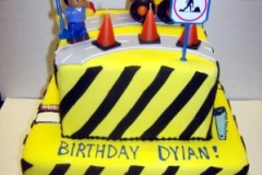 1740, birthday, construction, yellow, black, stripe, tonka, digger, dig, cones