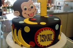 1769, first birthday, 1st birthday, curious george, monkey, banana, bananas, spots, dots, spot, dot, black, yellow, blue, red