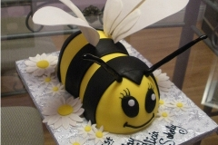 1795, first birthday, 1st birthday, bee, bumblebee, yellow, black, white, wings, carved, flower, flowers