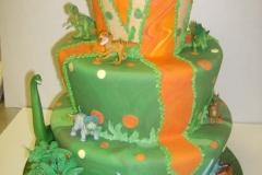 1811, fifth birthday, 5th birthday, dino, dinosaur, green, orange,  forest, jungle, tiered