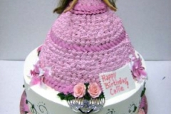 1838, birthday, barbie cake, bratz, dress, purple, flower, flowers, white, carved, tiered