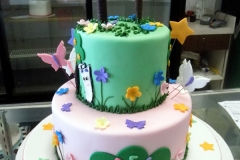 1845, 3rd birthday, third birthday, forest, jungle, flower, flowers, butterfly, butterflies, star, stars, blue, green, pink, tiered