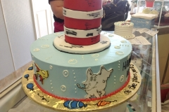 1851, first birthday, 1st birthday, dr seuss, seuss, cat in the hat, horton hears a who, one fish two fish, bubble, bubbles, blue, white, red, tiered