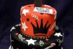 1875, first birthday, 1st birthday, star, stars, guitar, crown, red, black, white, tiered
