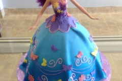 1896, birthday, barbie cake, dress, blue, purple, butterfly, butterflies, flower, flowers, carved