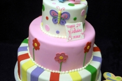 1921, first birthday, 1st birthday, butterfly, butterflies, flower, flowers, stripe, stripes, pastel, tiered, cookies