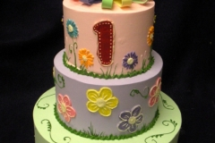 1927, first birthday, 1st birthday, bow, bows, flower, flowers, pink, purple, green, pastel, ladybug, tiered