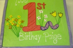 1925, first birthday, 1st birthday, flower, flowers, worm, green, purple
