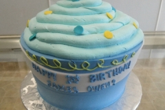 1932, first birthday, 1st birthday, cupcake, giant cupcake, carved, blue