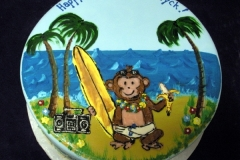 1952, first birthday, 1st birthday, monkey, surf, ocean, water, waves, surf board, banana, music, beach, blue, yellow