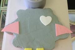 705, owl, grey, pink, heart, first birthday, smash cake, baby girl, bird