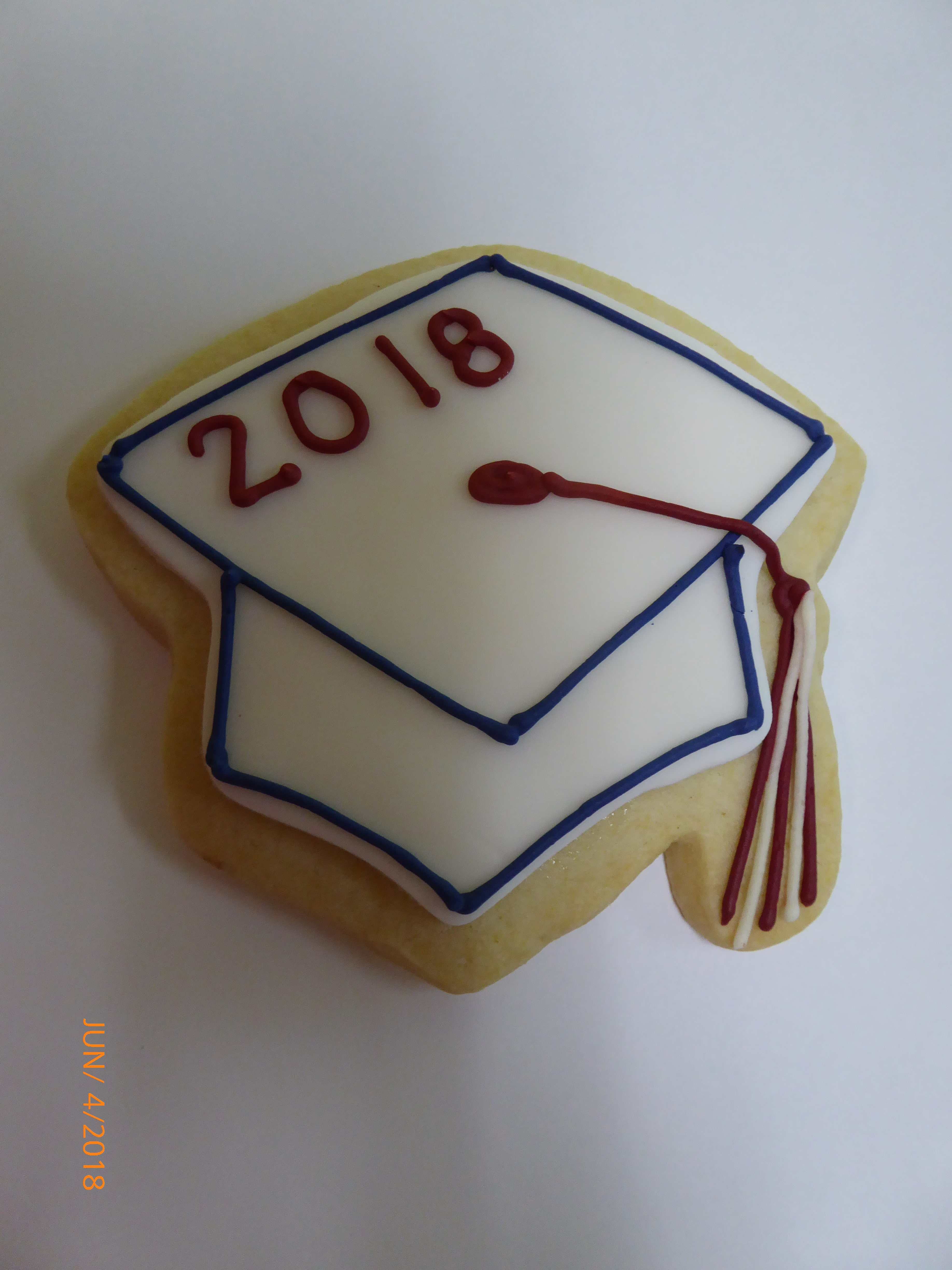 3289, cookie, graduation, hat, blue, red, white