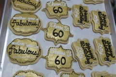 3194, cookies, 60th birthday, sixtieth birthday, gold, white black