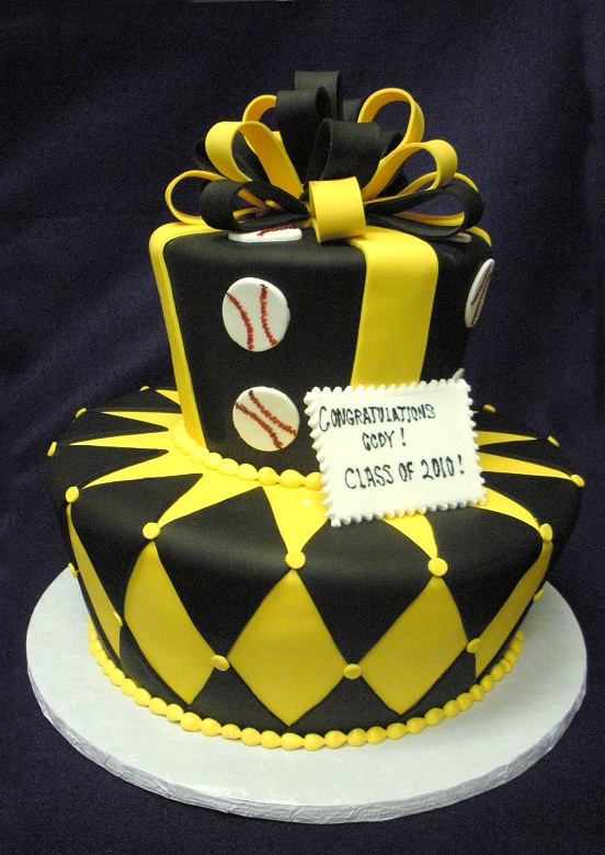 2849, black, yellow, diamonds, argyle, geometric, ribbon, bow, topper, baseball, two tier, tiered, stripes,