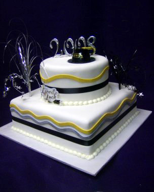 2859, two tiered, square, round, tiered, black, yellow, white, cap, hat, topper, silver