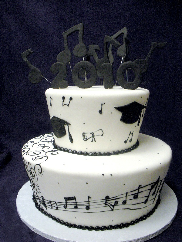 2883, black, white, music, music notes, swirls, topper, tiered, two tiered, cap