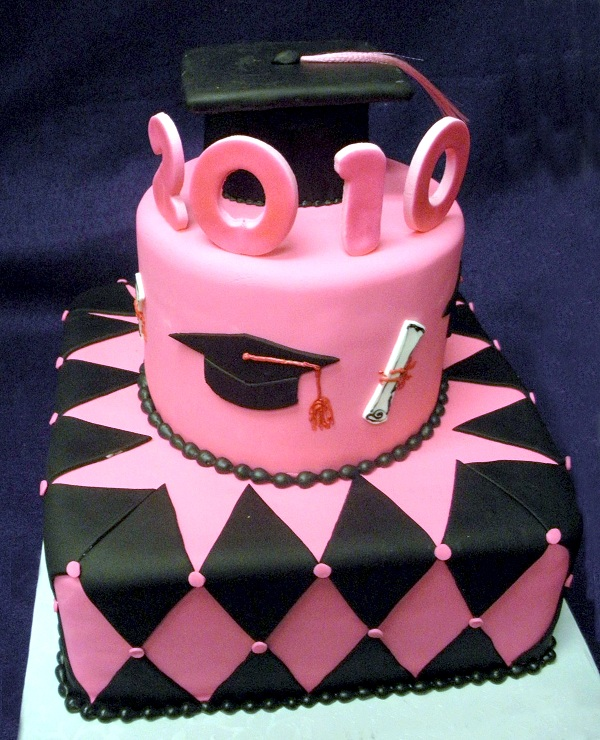 2884, pink, black, tiered, two tiers, cap, diploma, topper