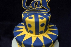2855, cal, university, blue, yellow, geometric, dots, polka dots, geometric, stripes, topper, college