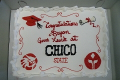 2867, chico state, mascot, red, white, cap, gown, diploma