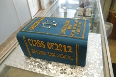 2881, law, book, scales, law school, blue, book, carved, blue, yellow, white