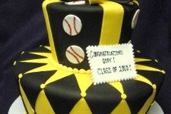 2849, black, yellow, diamonds, argyle, geometric, ribbon, bow, topper, baseball, two tier, tiered, stripes,