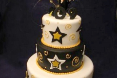 2900, tiered, three tiers, stars, black, yellow gold, cap, topper, swirls