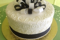 941, black, white, bow, ribbon, swirls, piping