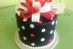 944, black, white, polka dots, dots, ribbon, bow, red