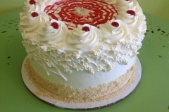 805, red, white, spirals, cherries, piping, spider web