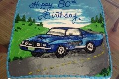 863, car, blue, road, scene, sky, blue, green, classic car, 80th, birthday