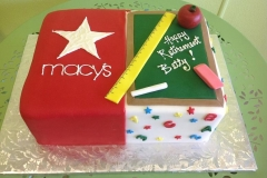 898, macy's, square, star, red, shopping, store, split cake, teacher, ruler, black board, chalk board, eraser, school, apple, red, green, white, colorful, yellow, pink