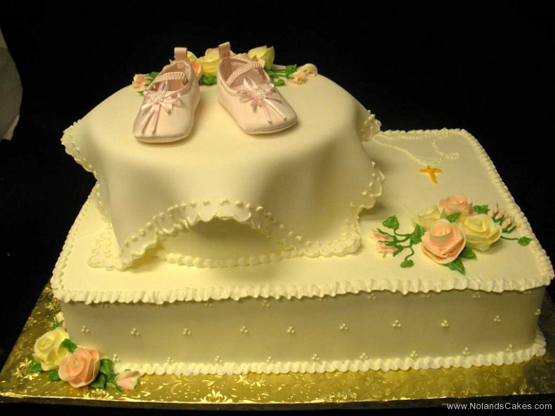 568, baby, booties, shoes, white, tiered, two tiered, roses, flowers, orange, yellow, pink, pastel, elegant, square, round, simple, elegant