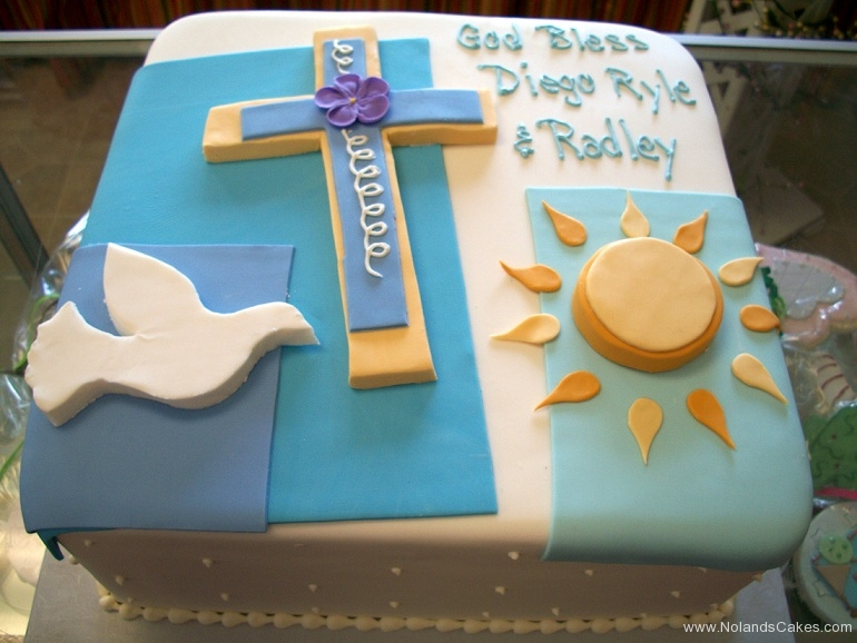 595, cake, square, christian, catholic, bird, cross, blue, dove, white, sun, gold, flowers, purple,