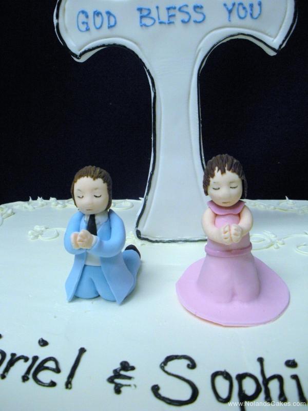 643, twins, boy, girl, pink, blue, cross, first communion, communion, white, square, topper, children