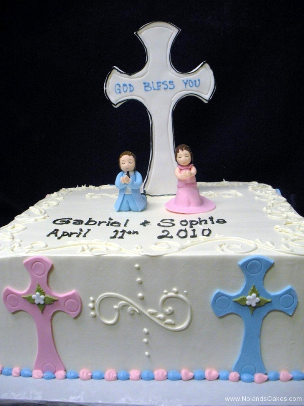 638, twins, boy, girl, pink, blue, cross, first communion,  communion, white, square, topper, children
