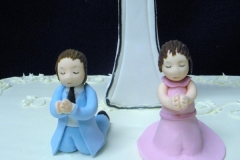 643, twins, boy, girl, pink, blue, cross, first communion, communion, white, square, topper, children