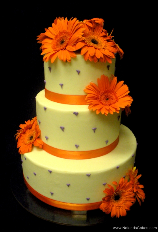 1, daisy, orange, gerber daisy, orange, ribbon, tiered, flower, flowers, fresh flowers, three tiered, purple, cream, off white