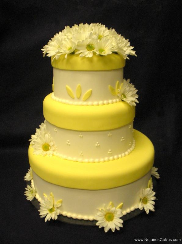 6, tiered, three tiered, yellow, daisy, flower, white, swiss dots, cream, flowers