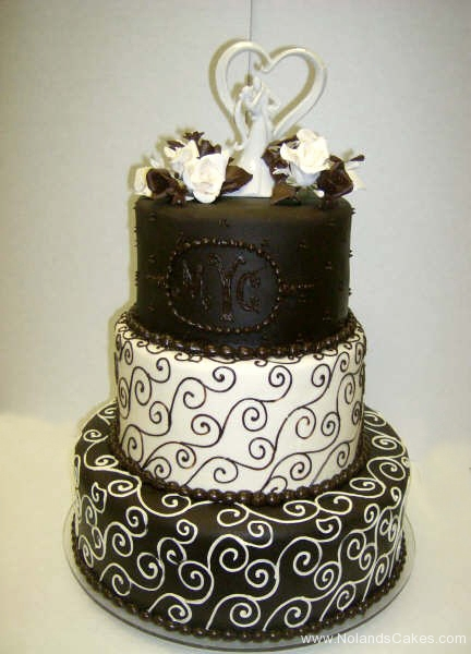 8, black, white, tiered, three tier, swirls, topper, heart