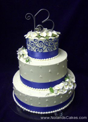 12, blue, white, piping, swiss dots, ribbon, B, topper, flowers, white flowers, tiered, three tiered
