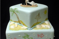 3, beach, square, square tier, tiered, two tier, bride and groom, topper, beach, shells, sand, blue, fish, waves, umbrella