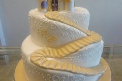 5, castle, tiered, two tiered, fairy tale, white, gold, topper,