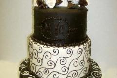 8, black, white, tiered, three tier, swirls, topper, heart