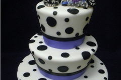 9, black, white, tiered, three tier, polka dots, zebras, topper, animal, blue, cute