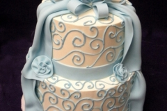 13, blue, piping, swirls, drape, flowers, tiered, two tiered